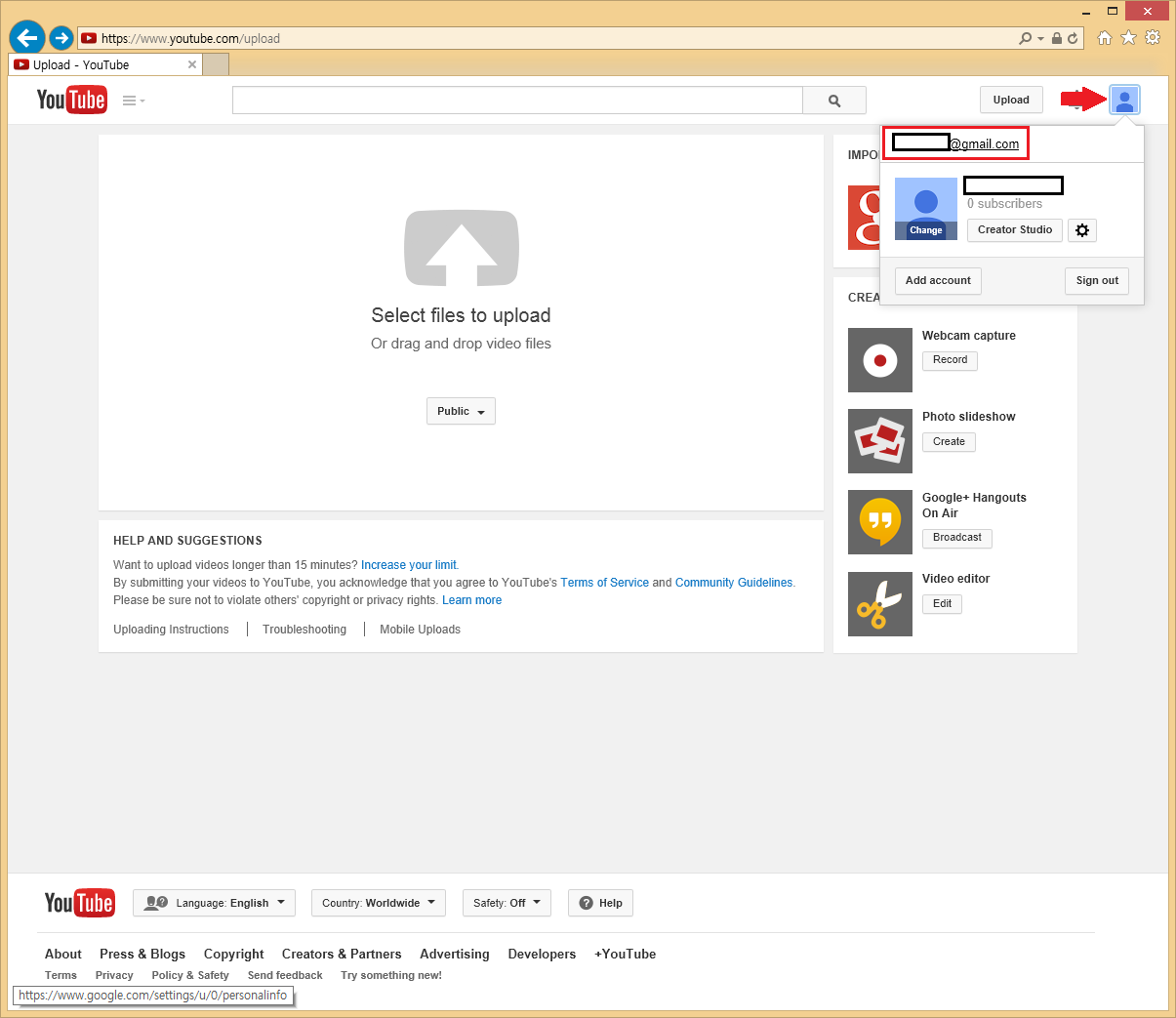 Uploading video to Youtube fails  How do I fix this
